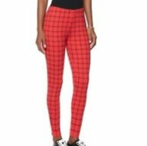 Diane Gilman Lux Sport Windowpane Red Leggings